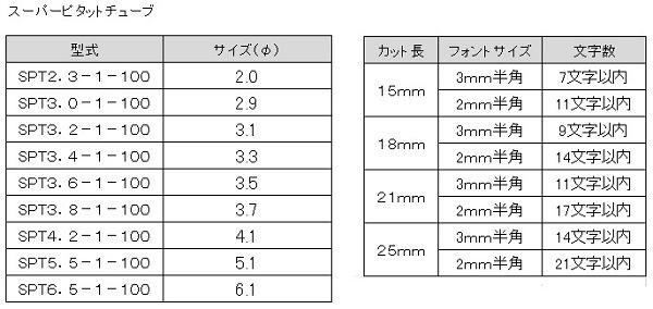 スーパーピタットチューブ印字加工_サイズ表